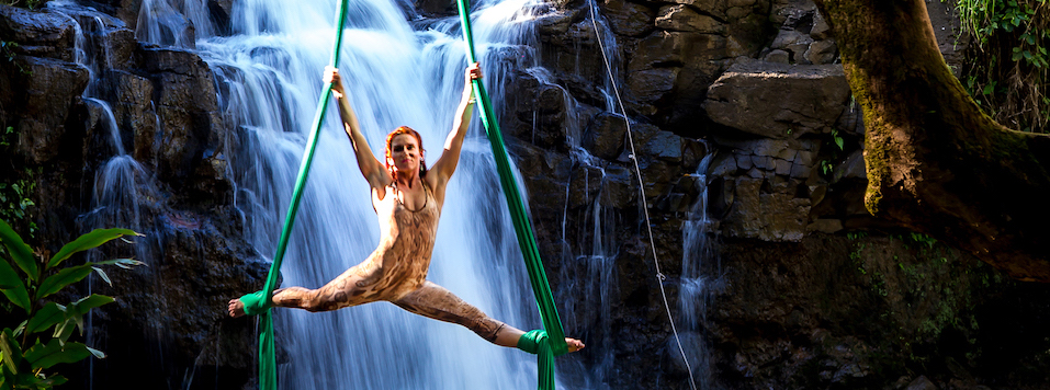 waterfall aerialist